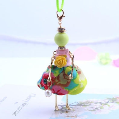 Green Statement Necklace Cute Floral Dress Doll Pendant | TeresaClare