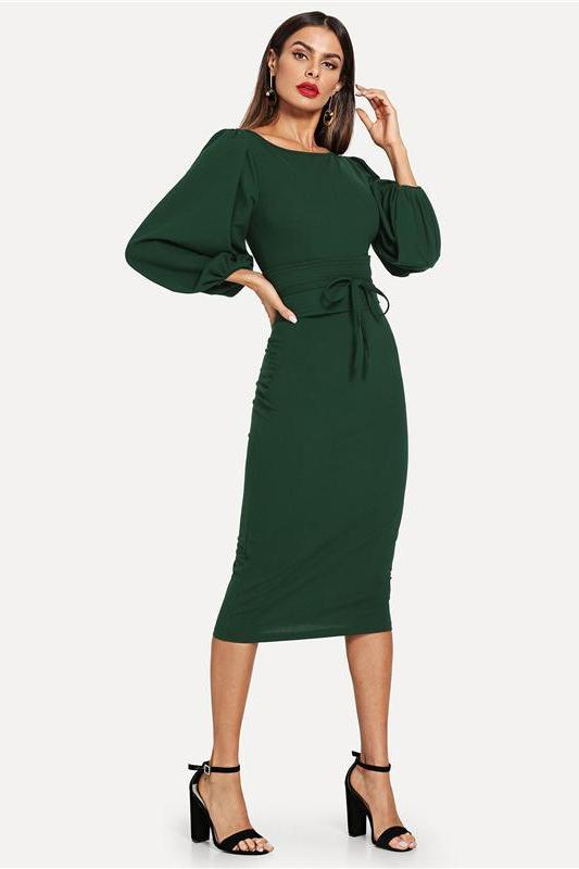 Green Tie Waist Lantern Sleeve Elegant Party Fashion Dress | TeresaClare
