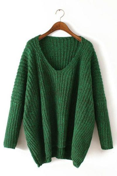 Green V-Neck Sexy Batwing Sleeved Oversized Sweater | TeresaClare