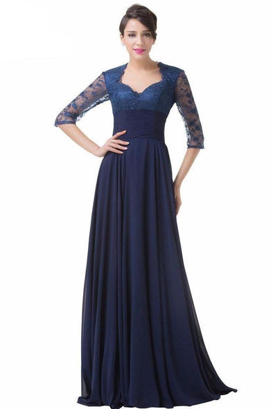 Half Sleeve Chiffon Formal Evening Dress With Lace | TeresaClare