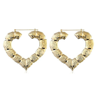 Heart Gold Exaggerated Square Hoop Earrings | TeresaClare