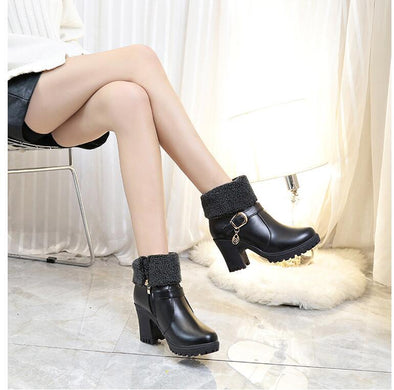 High Quality Round Head High Heels Platform Boots | TeresaClare
