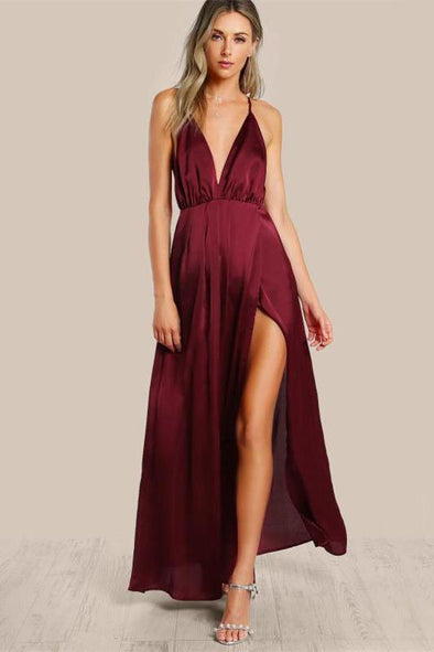 High Slit Wrap Satin Maxi Plunge Neck Fashion Dress | TeresaClare