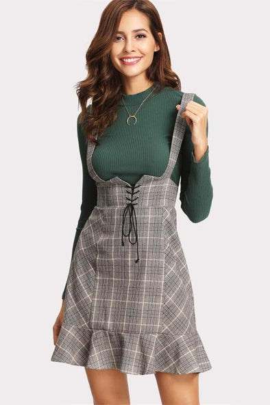 High Waist Woman Lace Up Front Ruffle Hem Plaid Skirt | TeresaClare