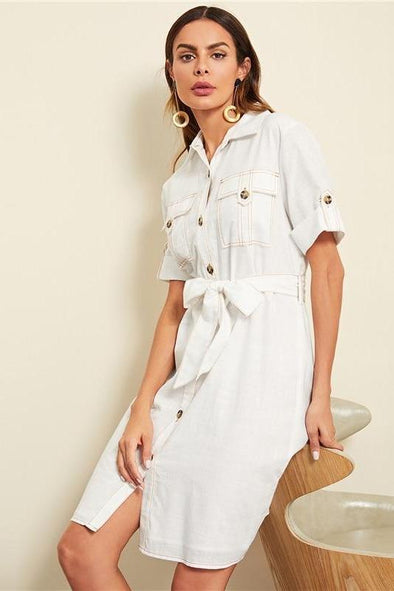 Highstreet Workwear Rolled Tab Sleeve Pocket Front Fashion Dress | TeresaClare