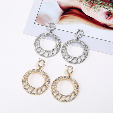 Hollow Big Round Drop Earrings Gold Silver | TeresaClare