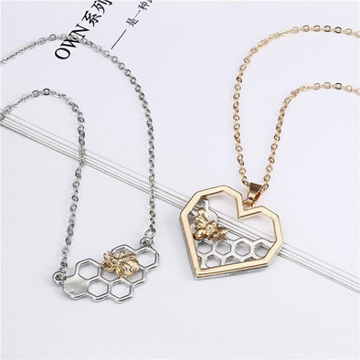 Hollow Honeycomb Bee Heart Pendant Necklaces For Women | TeresaClare