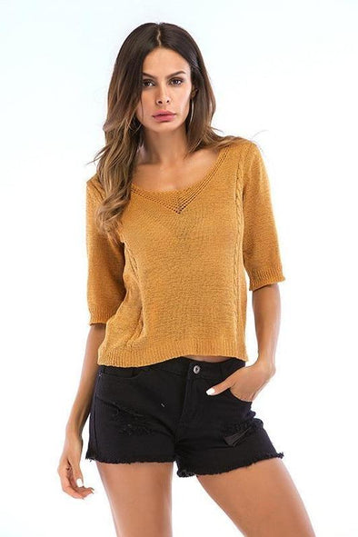 Hollow Out Knitted Pullovers Casual Half Hole Crop Sweater | TeresaClare
