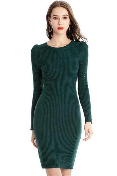 Hollow Out Sleeve Knitted Sweater Mini Dress | TeresaClare