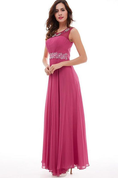 Hot Pink Back Zipper Beading Appliques Pleated Chiffon A-Line Prom Dress | TeresaClare