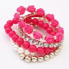 Hot Pink Charm Bracelets & Bangles Jewelry Cute Beads Flowers | TeresaClare