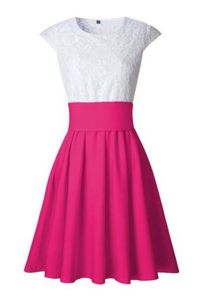 Hot Pink Pleated O Neck Short Sleeve Patchwork Fashion Dress With Lace | TeresaClare
