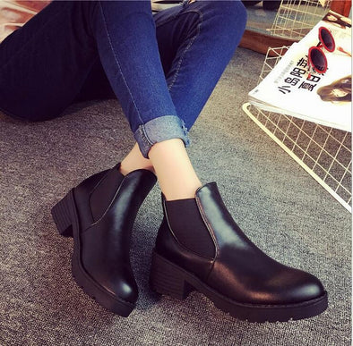 Hot Style Round Head Thick Bottom PU Leather Boots | TeresaClare