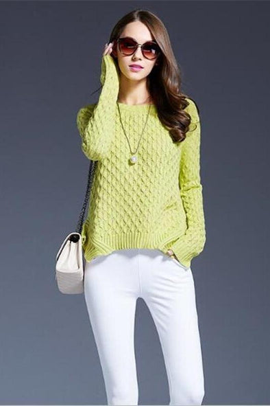 Irregularity Fashion O-neck Knitted Pullovers Sweater | TeresaClare