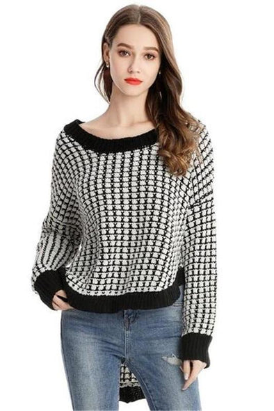 Irregularity Knitted Pullovers Sexy O-neck Sweater | TeresaClare