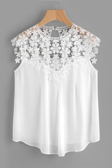Keyhole Back Daisy Lace Shoulder Shell Top Summer Blouse | TeresaClare