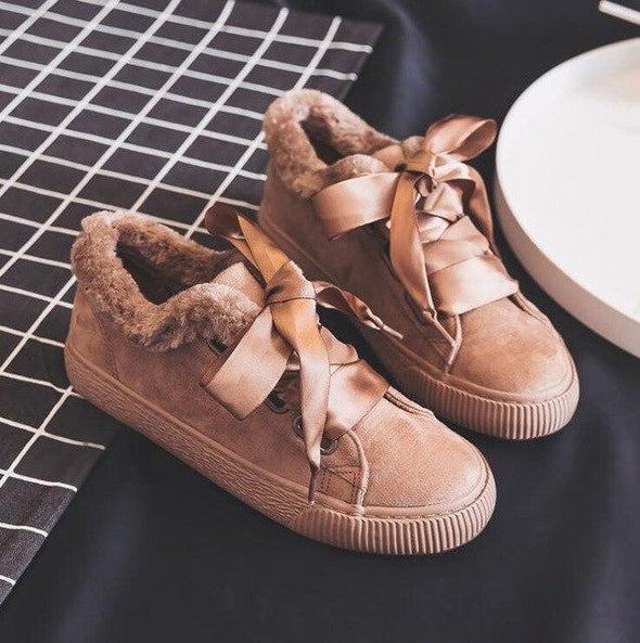 Khaki Fashion Lace-Up Flock Fur Women Flat Shoes | TeresaClare
