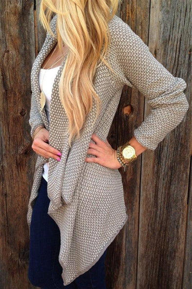 Khaki Irregularity Fashion Turn-down Collar Cardigan Sweater | TeresaClare