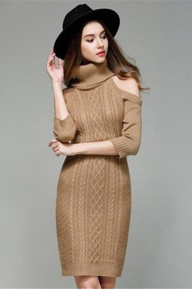 Khaki Off The Shoulder Knitted Fashion Mini Dress Sweater | TeresaClare
