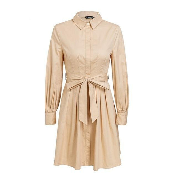 Khaki Pleated High Waist Women Vintage Office Lady White Fashion Dress | TeresaClare