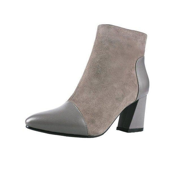 Khaki Pointed Toe Shoes Fashion Stitching Ankle Boots | TeresaClare