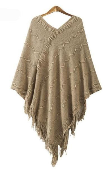 Khaki Women's Fashion Solid Shawl Tassel Design V-Neck Sweater | TeresaClare