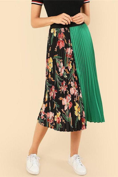 Knee-Length Mid Waist Floral Boho Pleated Skirt | TeresaClare