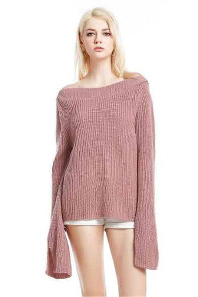 Knitted Pullover Slash Neck Flare Sleeve Sweater | TeresaClare
