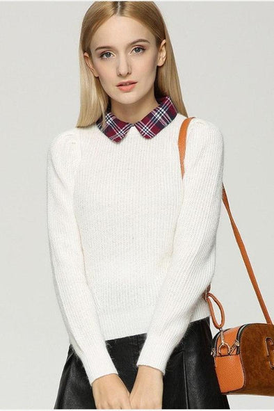 Knitted Pullovers For Women Turn-down Collar Patchwork Sweater | TeresaClare