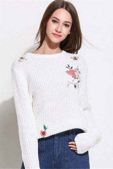 Knitted Pullovers O-Neck Long Sleeve Floral Embroidery Sweater | TeresaClare