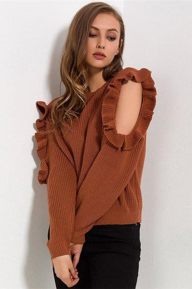 Knitted Pullovers Ruffles Shoulder Off Sweater | TeresaClare