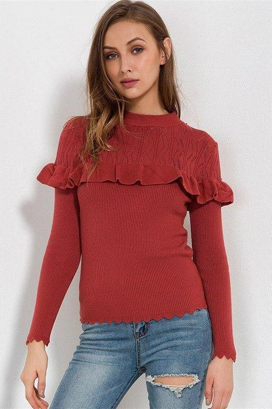 Knitted Pullovers Ruffles Slim Hollow Out Sweater | TeresaClare