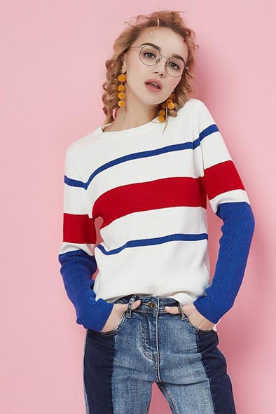 Knitted Striped Pullovers Long Sleeve Casual Sweater | TeresaClare