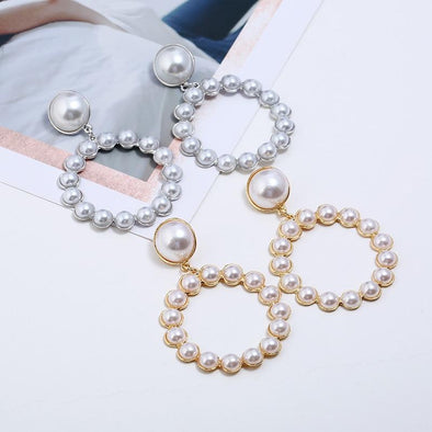 Korean Style Elegant Simulated Pearl Dangle Drop Earrings | TeresaClare