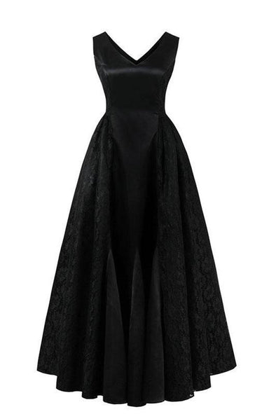 Lace A-Line Sexy Black V-Neck Empire Floor Length Prom Dress | TeresaClare