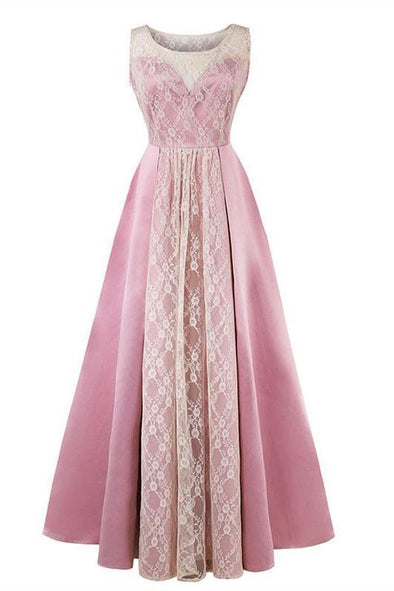 Lace Long Pink Scoop Neck Floor Length A-Line Prom Dress | TeresaClare