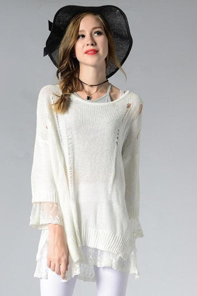 Lace Patchwork Women Fashion O-neck Sweater | TeresaClare