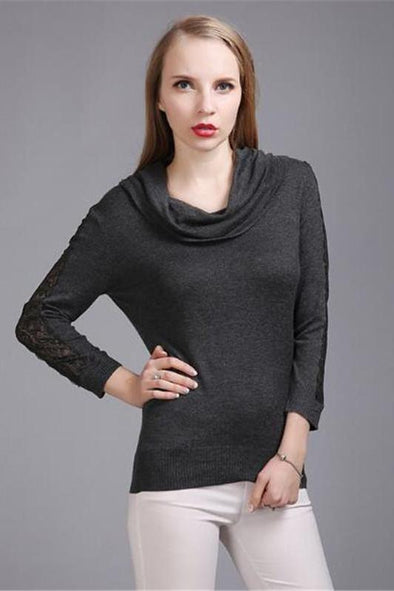 Lace Sleeve Patchwork Knitted Pullovers Sweater For Women | TeresaClare
