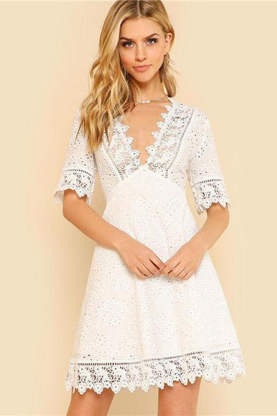 Lace Trim Eyelet Embroidered White Deep V Neck Fashion Dress | TeresaClare