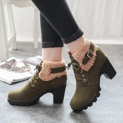 Lace-Up European Ladies Suede High Heels Boots | TeresaClare