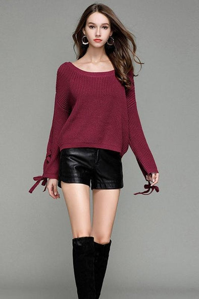 Lace Up Knitted Pullovers Female Sexy Casual Sweater | TeresaClare