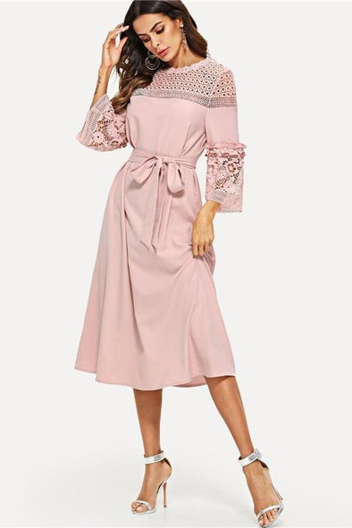 Lace Yoke and Sleeve Pearl Beading Belted Fashion Dress | TeresaClare