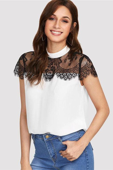 Lace Yoke Keyhole Back Patchwork Stand Collar Blouse | TeresaClare