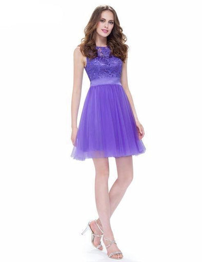 Lavender A-Line Chiffon Scoop Neck Knee-Length Homecoming Dress | TeresaClare