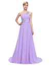 Lavender One Shoulder Floor Length Chiffon Prom Dress With Beading | TeresaClare
