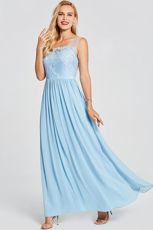 Light Blue Backless Long Blue Lace Sleeveless Floor Length Prom Dress | TeresaClare