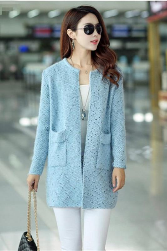 Light Blue Cardigan Long Sleeve Colorful Knitted Sweater | TeresaClare