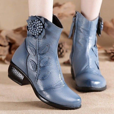 Light Blue Genuine Leather Handmade Floral Ankle Boots | TeresaClare