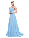 Light Blue One Shoulder Floor Length Chiffon Prom Dress With Beading | TeresaClare