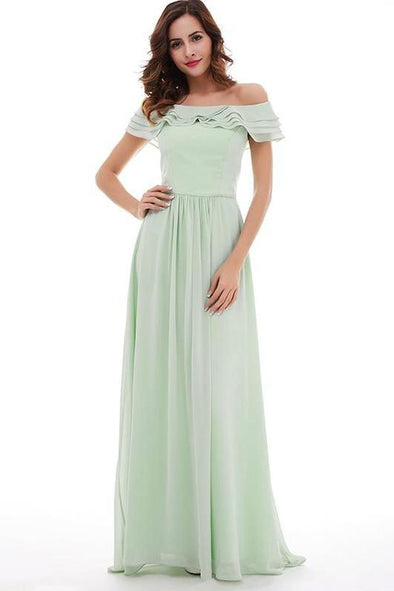 Light Green Boat Neck Mint Chiffon Floor Length A-Line Prom Dress | TeresaClare
